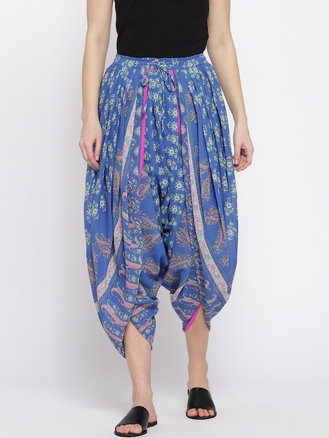 Ayaany Blue & Green Printed Cropped Dhoti Pants