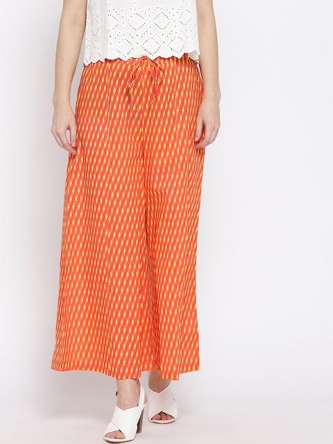 Ayaany Women Orange & Yellow Printed Flared Palazzos
