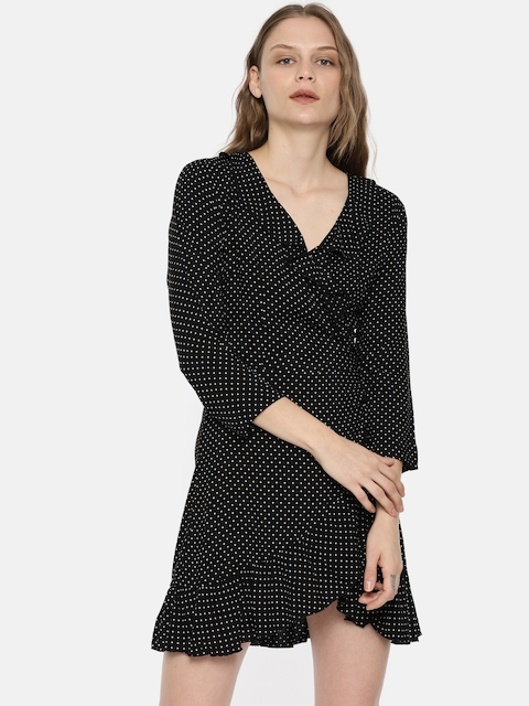 ONLY Women Black Printed Wrap Dress