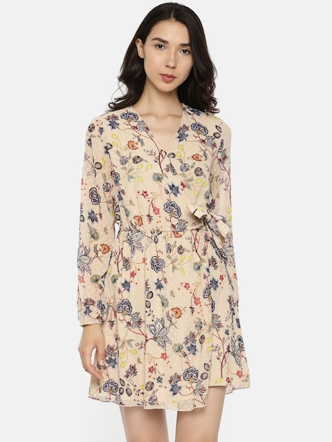 ONLY Women Beige Printed Wrap Dress