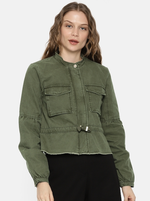 ONLY Women Olive Green Solid Tailored Jacket