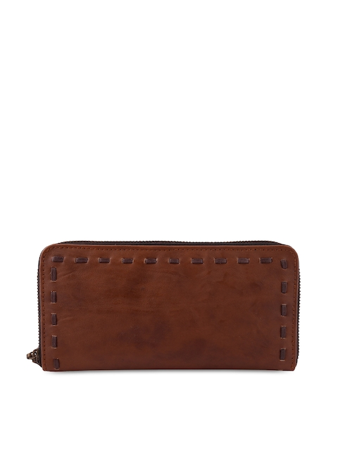 Anekaant Women Brown Solid Zip Around Wallet