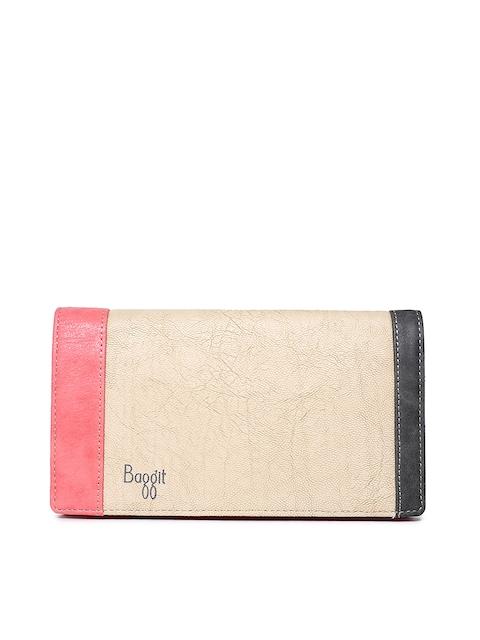 Baggit Women Beige Striped Two Fold Wallet