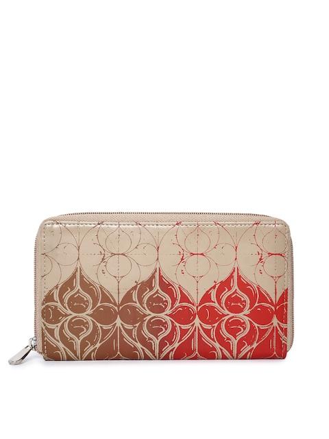 Baggit Women Beige & Red Printed Zip Around Wallet
