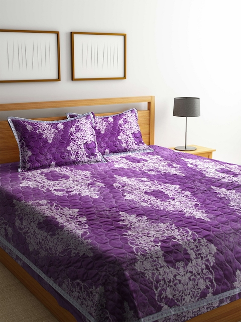 BLUSH Purple 120 TC Cotton Jacquard Double King Bed Cover with 2 Pillow Covers