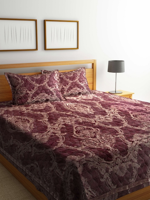 BLUSH Maroon 120 TC Cotton Jacquard Double King Bed Cover with 2 Pillow Covers