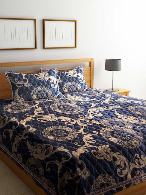 BLUSH Blue 120 TC Cotton Jacquard Double King Bed Cover with 2 Pillow Covers