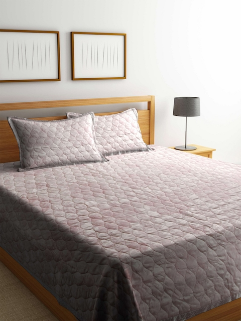 BLUSH Pink 120 TC Cotton Jacquard Double King Bed Cover with 2 Pillow Covers