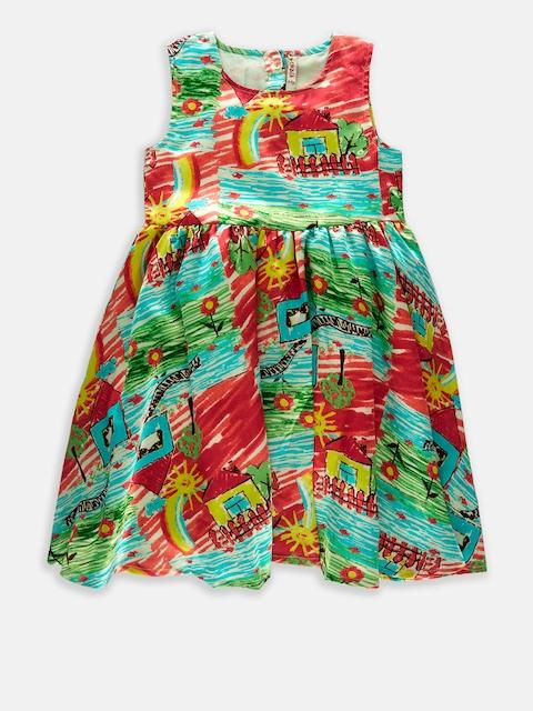 CHALK by Pantaloons Girls Pink & Green Printed A-Line Dress