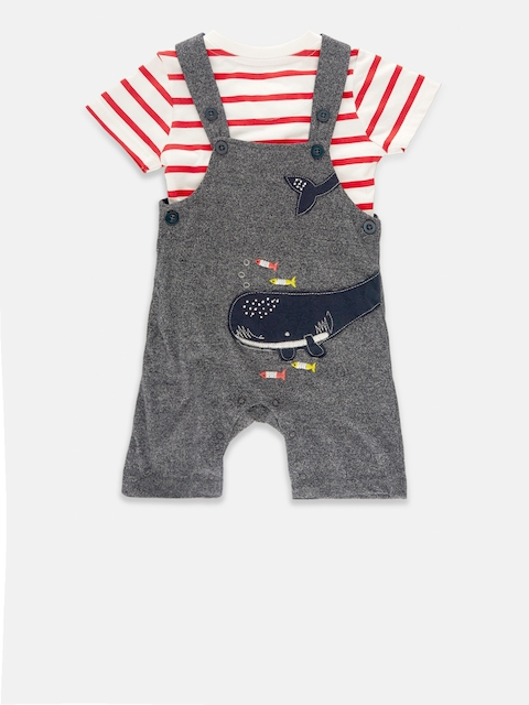 Chirpie Pie by Pantaloons Boys Navy Blue & White Dungaree with T-shirt