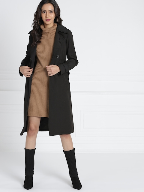 all about you from Deepika Padukone Black Solid Tie-Up Trenchcoat