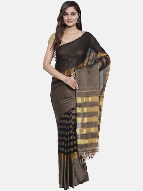 Pavechas Black Pure Cotton Solid Venkatgiri Saree