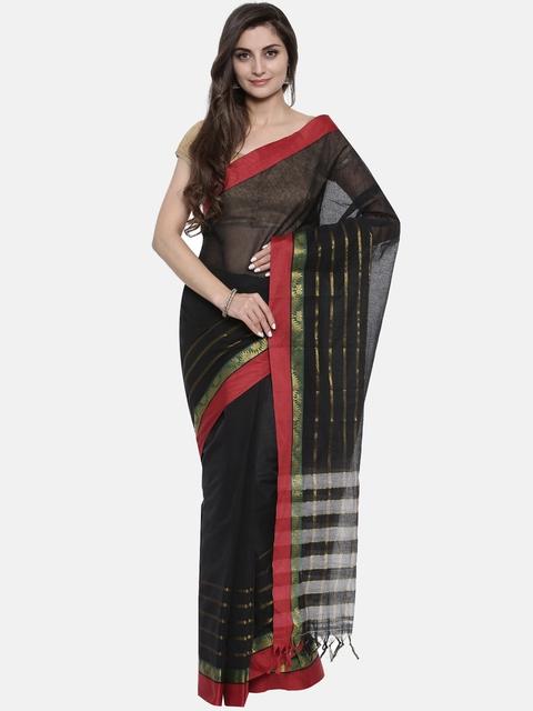 Pavechas Black & Red Pure Cotton Solid Venkatgiri Saree