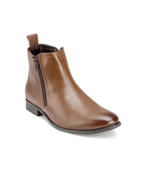 Escaro Men Brown Solid Leather Mid-Top Flat Boots