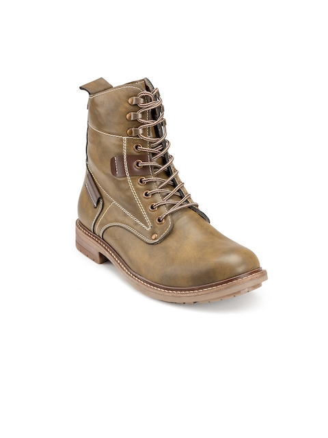 Escaro Men Olive Green Solid Synthetic Leather Mid-Top Flat Boots