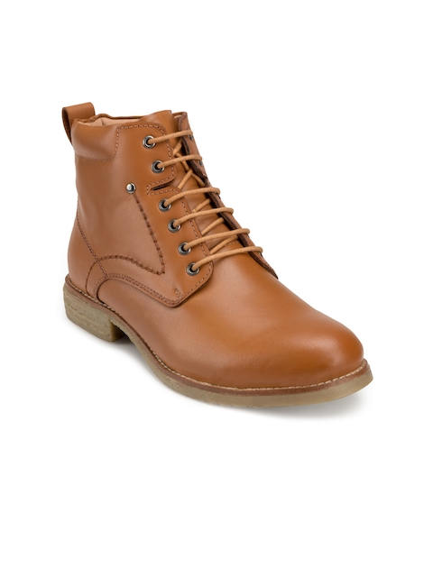 Escaro Men Tan Solid Leather Mid-Top Flat Boots