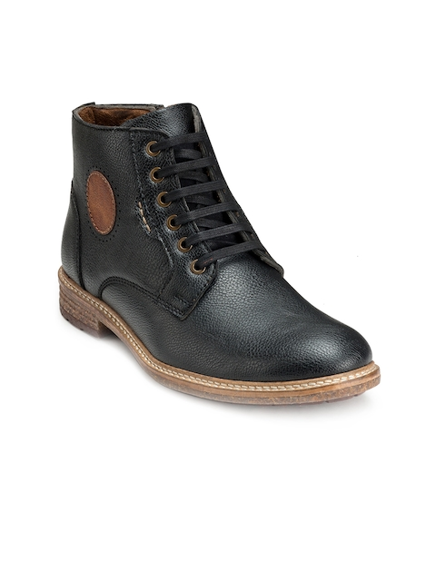 Escaro Men Black Solid Synthetic Leather Mid-Top Flat Boots