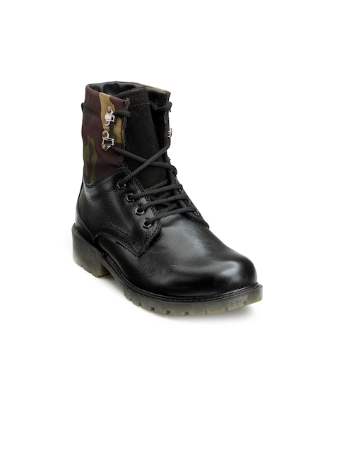 Escaro Men Black Solid Leather Mid-Top Flat Boots