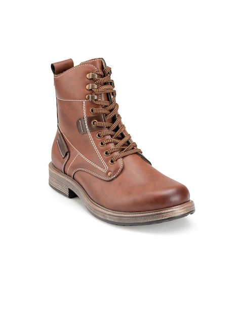 Escaro Men Brown Solid Synthetic Leather Mid-Top Flat Boots