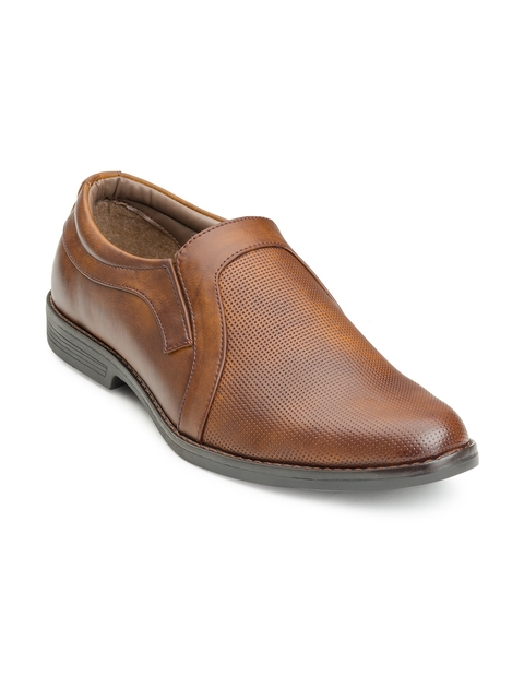 Escaro Men Tan Formal Slip On Shoes
