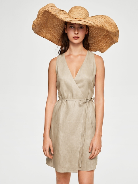 MANGO Women Beige Solid Linen Wrap Dress