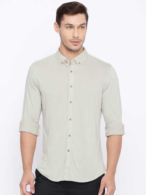 Indian Terrain Men Beige Chiseled Slim Fit Solid Casual Shirt