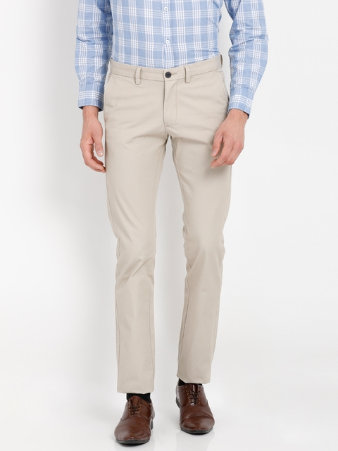 Indian Terrain Men Beige Brooklyn Slim Fit Solid Formal Trousers