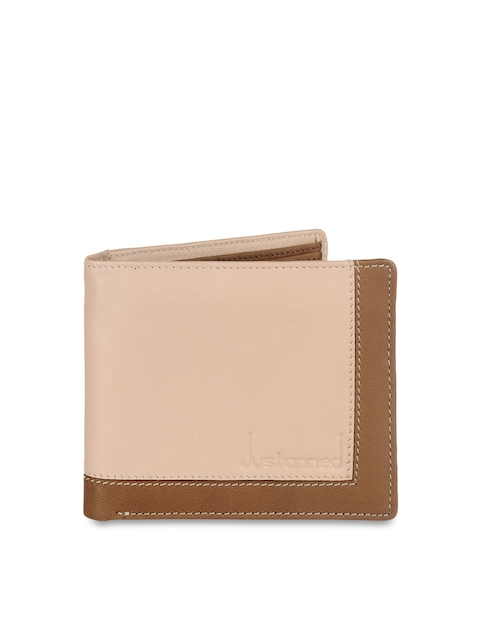 Justanned Men Beige & Brown Colourblocked Two Fold Leather Wallet