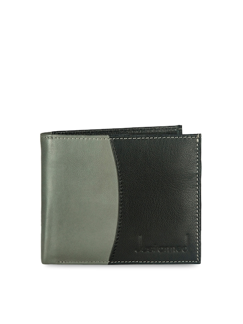 Justanned Men Black Colourblocked Two Fold Leather Wallet