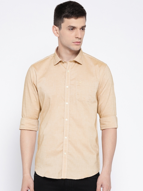 Blackberrys Men Beige Slim Fit Solid Casual Shirt
