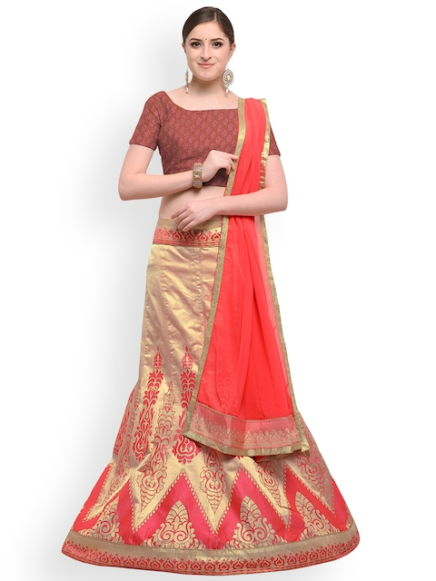 Styles Closet Pink & Gold-Toned Woven Design Silk Lehenga Choli with Dupatta
