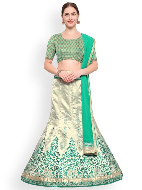 Styles Closet Green & Silver-Toned Woven Design Silk Lehenga Choli with Dupatta