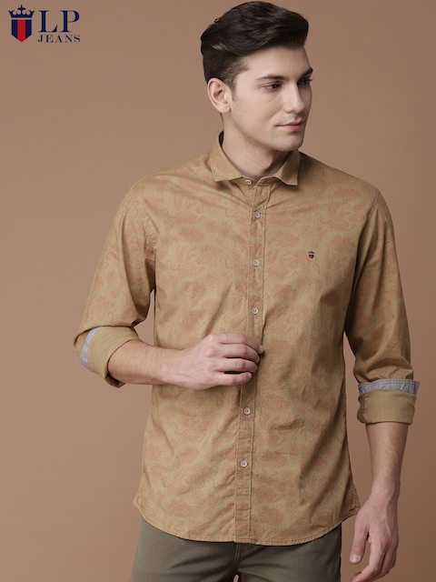 Louis Philippe Jeans Men Beige Slim Fit Printed Casual Shirt