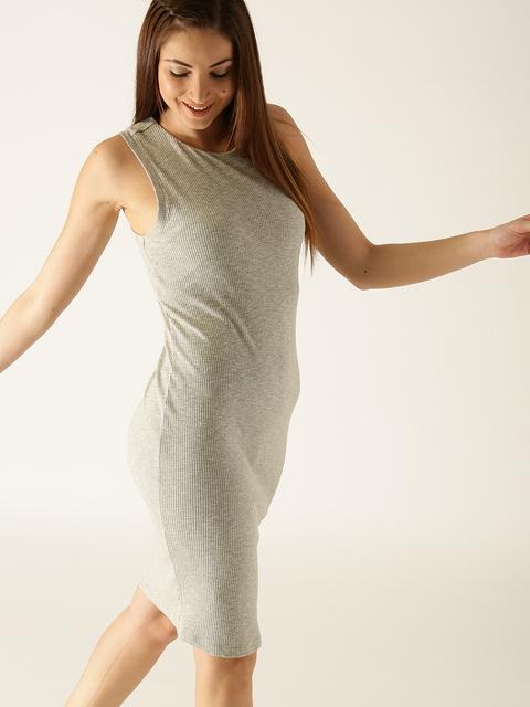 United Colors of Benetton Women Grey Melange Self-Striped Sheath Dress