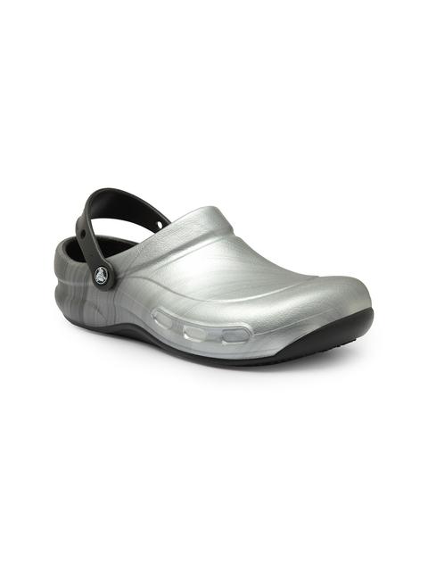 Crocs Men Silver-Toned Bistro Graphic Clogs