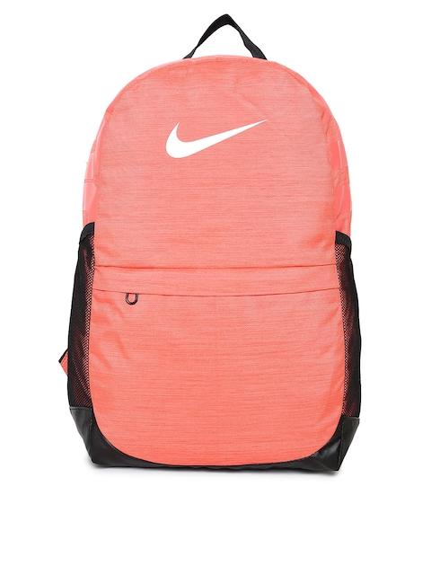 Nike Unisex Coral & Black Y NK BRSLA BKPK Brand Logo Backpack