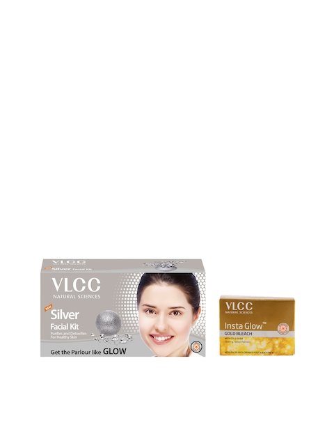 VLCC Unisex Set of Silver Facial Kit & Insta Glow Gold Bleach