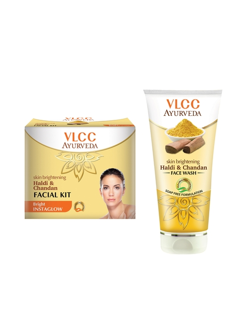 VLCC Unisex Ayurveda Haldi Chandan Facial Kit & Face wash Combo