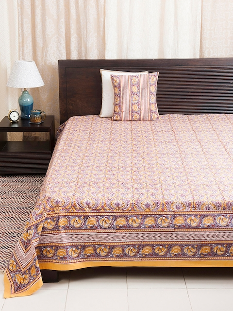 Fabindia Multicoloured Ethnic Print Double-King Size Bed Cover