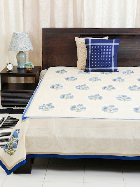 Fabindia Off-White & Blue Floral Print Double-King Size Bed Cover