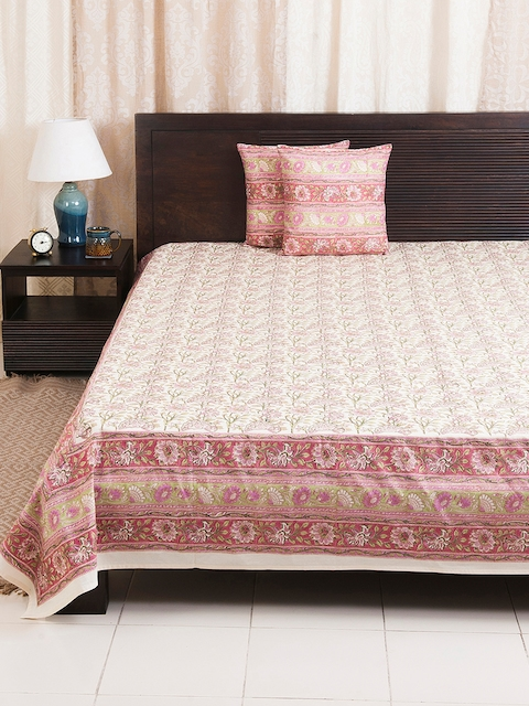 Fabindia Pink, Green & Off-White Floral Print Double-Queen Size Bed Cover