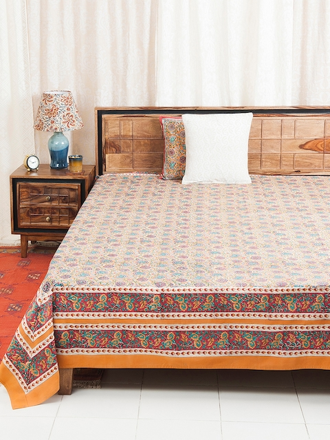 Fabindia Yellow, Peach & Teal Floral Print Double-King Size Bed Cover