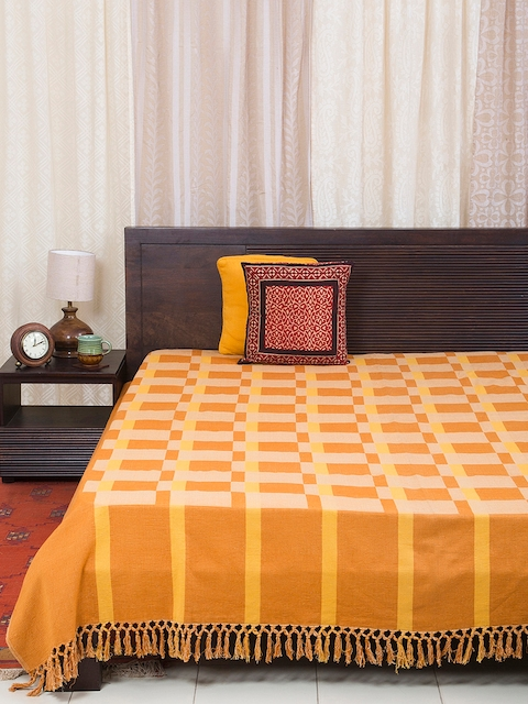 Fabindia Yellow, Orange & Cream Woven Design Double-King Size Bed Cover