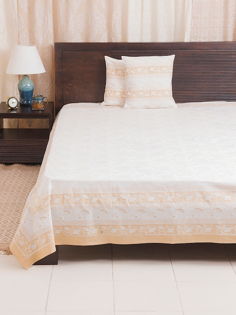 Fabindia Off-White & Peach Floral Print Double-King Size Bed Cover