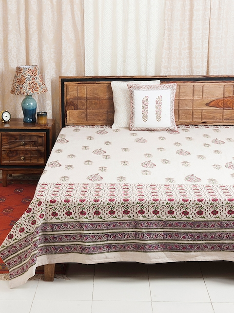 Fabindia Off-White & Maroon Floral Print Double-King Size Bed Cover