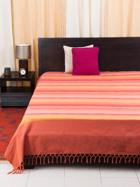 Fabindia Multicoloured Woven Design Double-King Size Bed Cover