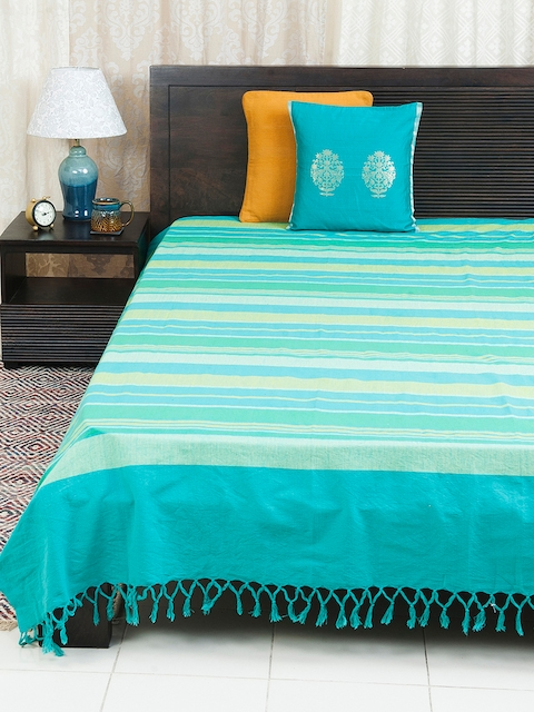 Fabindia Turquoise Blue & Green Double-Queen Size Bed Cover