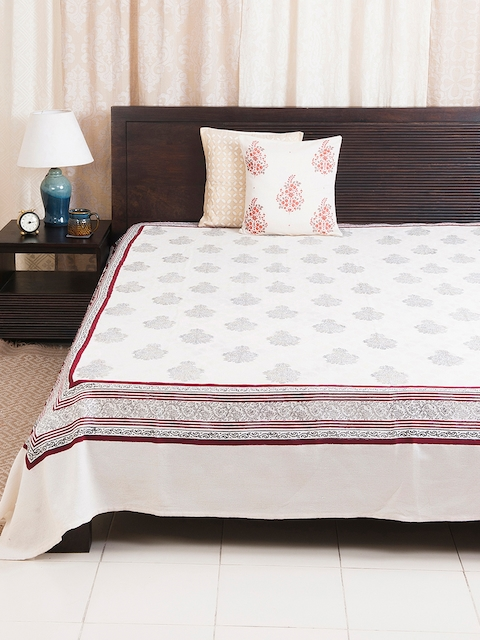Fabindia Off-White & Maroon Ethnic Print Double-King Size Bed Cover