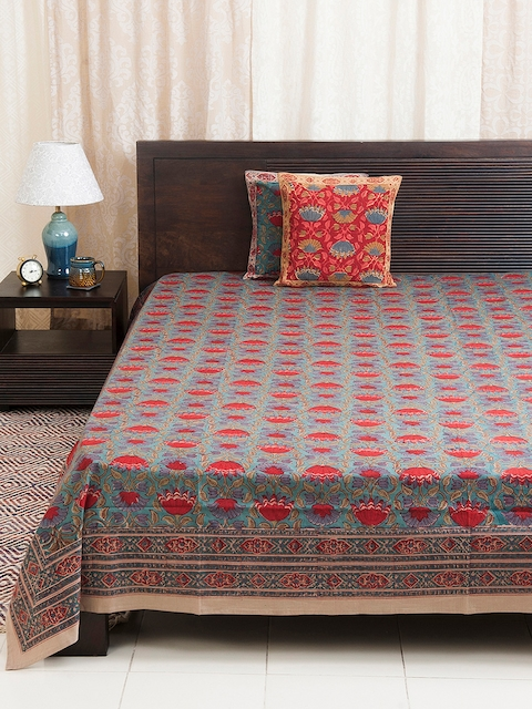 Fabindia Blue & Red Floral Print Double-King Size Bed Cover