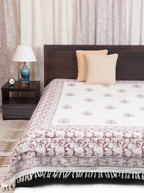 Fabindia Off-White & Beige Floral Print Double-King Size Bed Cover